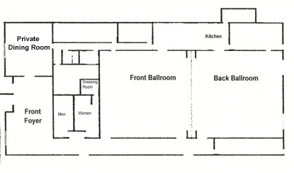 Room rates northern lights ballroom banquet center for Banquet hall floor plan